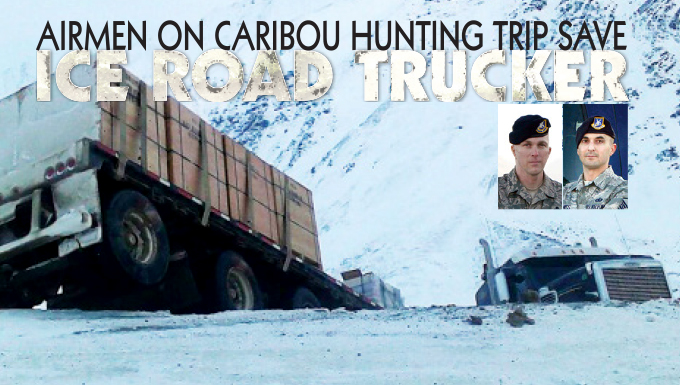 A tractor-trailer jackknifed on the Dalton Highway at Atigun Pass, Alaska, Nov. 2, 2013. In the vehicle behind the truck, two Air Force master sergeants, who were going caribou hunting, stopped and extracted the driver, who was perilously close to a 600-foot drop. (U.S. photo illustration by David Stack/Released)